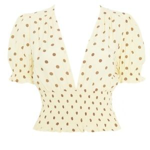 Faithfull the Brand Tops - Faithful The Brand Sylve Polka Dot Top - Lemon